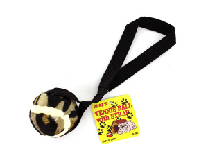 Tennis ball dog toy with strap