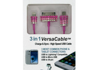 3-in-1 Sparkle Charge & Sync USB Cable