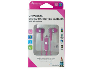 Pink Travelocity Universal Stereo Handsfree Earbuds