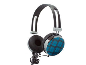 Blue Plaid Stereo Headphones with In-Line Microphone