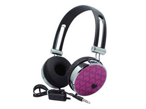 Pink Hearts Stereo Headphones with In-Line Microphone