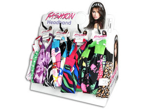 Wholesale: Assorted Prints Fashion Spandex Headbands in Countertop Display