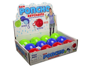 Wholesale: Assorted Color Rain Poncho Ball Keychain in Countertop Display