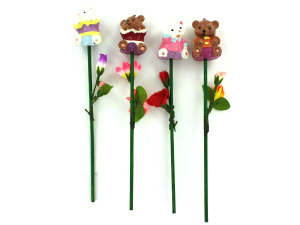 Wholesale: Bear candle on stem, assorted