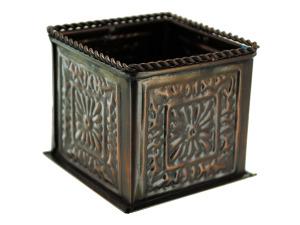 Square bronze planter decor (2.5 x 2.75 x 2.75 inches)