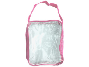 Clear Travel Bag with Pink Trim