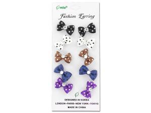 Polka dot bow fashion earrings, 5 pair
