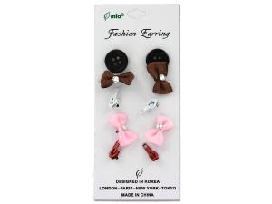 Bow earrings, pack of 5 pair