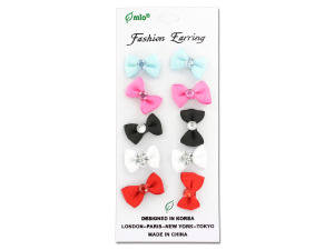 Wholesale: Bow earrings, card with five pair