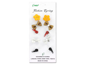 Buttons and bows fashion earrings, assorted styles