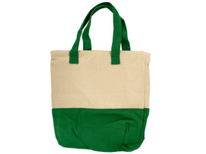 Natural/green tote