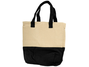 Natural/black tote