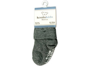 Koala Kids Basics Grey Baby Socks 6 - 12 Months of Age