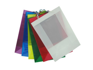 Wholesale: Transparent colored gift bags, assorted