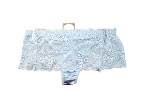 Light Blue Stretch Lace Underwear Thong Size 8