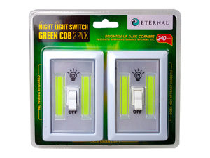 Wholesale: 2 Pack COB Night Light Switch in Green