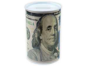100 Dollar Bill Tin Money Bank