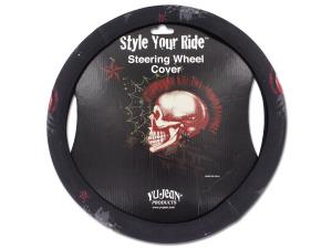 Mohawk skull steering wheel cover