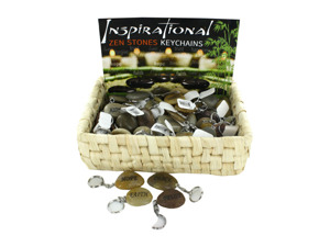 Wholesale: Inspirational Zen Stones Key Chains Countertop Display