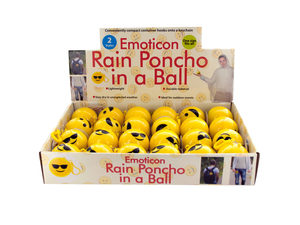 Wholesale: Emoticon Rain Poncho in a Ball Countertop Display