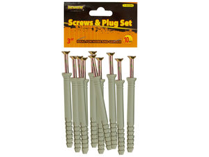 "Wholesale: 3"" Screws with Ribbed Plastic Anchors Set"