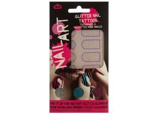 Striped Nail Art Glitter Nail Tattoos Kit