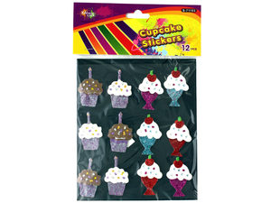 Wholesale: Dimensional Cupcake Stickers with Glitter
