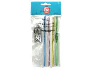 Wholesale: 4 piece anodized aluminum crochet hook set with folding scis