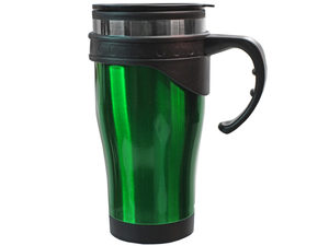 Wholesale: 16 oz Green Stainless Steel Travel Mug with Handle in Gift Box