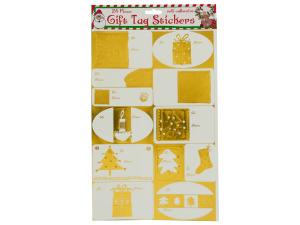 Wholesale: Metallic Christmas Gift Tag Stickers Set