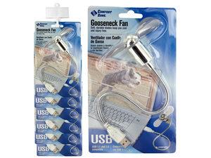 Chrome Gooseneck USB Fan Clip Strip