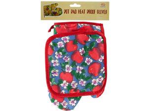 Wholesale: Quilted Fruit & Floral Print Oven Mitt & Pot Holder Set