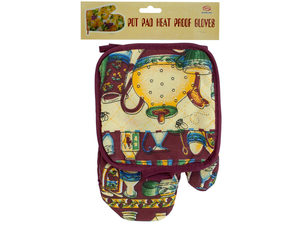 Wholesale: Quilted Country Print Oven Mitt & Pot Holder Set