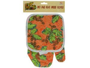 Wholesale: Quilted Floral & Fruit Print Oven Mitt & Pot Holder Set