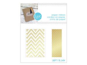 Wholesale: Gold Dot & Chevron Paper Craft Ribbon Set
