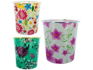 Wholesale: Round Floral Design Wastebasket