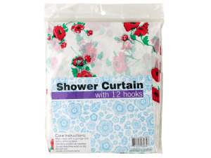 Decorative Shower Curtain with Hooks