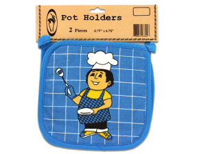 Wholesale: Pot holders, pack of 2, happy cook