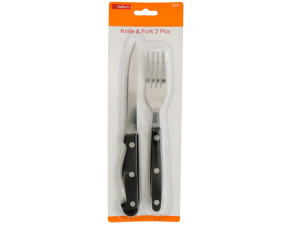 Wholesale: Knife and Fork Set with Black Handles