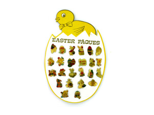 Wholesale: Easter pins, 24 assorted on display card