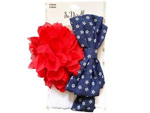 Wholesale: Multi-Color 2 Piece Flower Print Bow & Chiffon Flower Headwraps