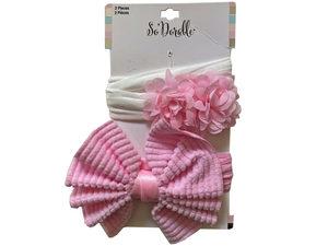 Wholesale: Pink 2 Piece Bow & Flower Headwrap