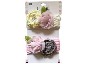 Wholesale: Multi-Color 2 Piece Rose Style Headbands