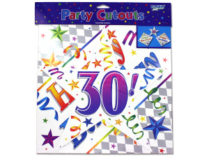 Wholesale: 30th birthday cut-outs, pack of 3