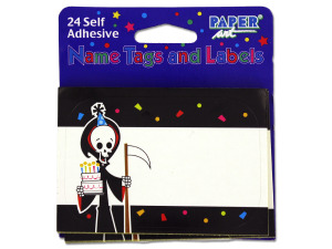 Wholesale: Grim Reaper name tags/labels, pack of 24