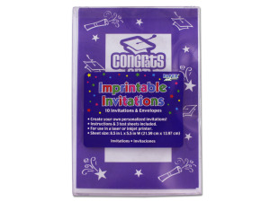 "Wholesale: ""Congrats Grad"" imprintable invitations, pack of 10"