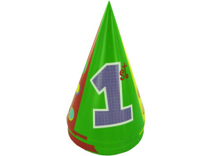 Wholesale: 1st birthday party hats, polka dots, pack of 8