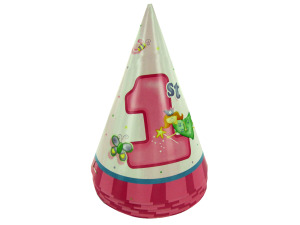 Wholesale: Girl 1st birthday party hats, pack of 8