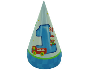 Wholesale: Boy's 1st birthday hats fire truck, pack of 8