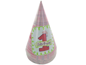 Wholesale: Little Princess 1st birthday party hats, pack of 8